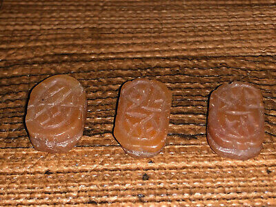 Three (3) Larger Antique Egyptian Carved Carnelian Stone Scarab Beads Pendants 8