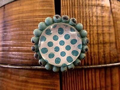 6 BLUE SUN FLOWER GLASS DRAWER CABINET PULLS KNOBS VINTAGE chic garden hardware 4