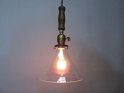 """Vintage Industrial Drop Pendant Light Wooden Handle Scientific Cone Shade 13"""" 2"""