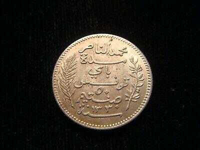 TUNISIA. MUHAMMAD AL-NASIR BEY, 50 CENTIMES 1912 A (Paris mint). 2