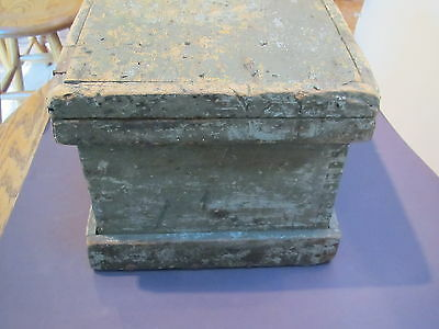 "Viintage wood 15 1/2""L X10""D X 8 1/2""H carpenters tool or document box-orig lock 2"