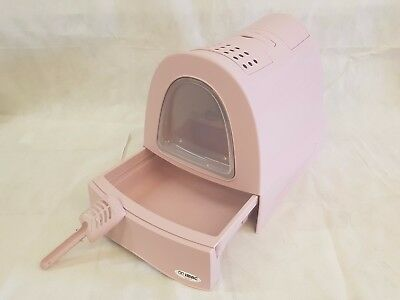 Litter Tray Cat Covered Fast Cleaning with Schiebefach Pink 2