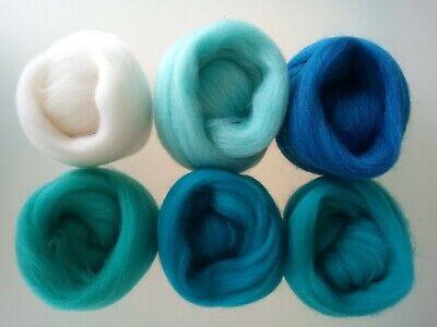 Turquoise set* Pure Merino Wool Needle and Wet Felting packs of 30, 60 or 90 g 4