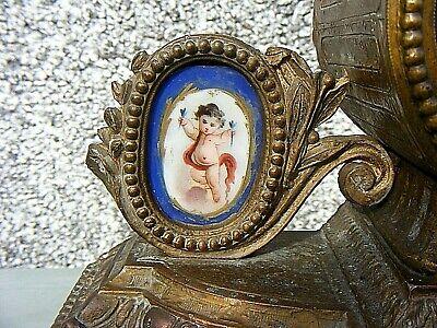 Antique Marti French Mantel Clock Gilt Sevres ? Porcelain Panel Clock 4