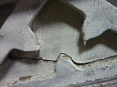 "c1820-30 Colonial era wooden DOOR pediment CRACKLED white paint 72"" x 40"""