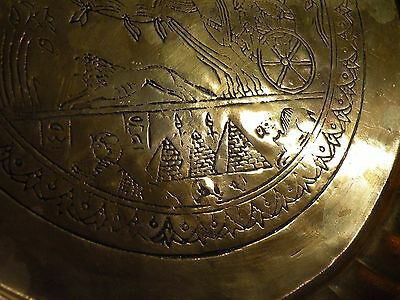 AIA414 BRASS ANCIENT EGYPT REPRODUCTION  TRAY, engraved chariot & horse design 4
