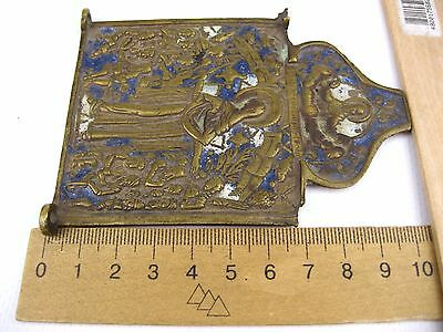 Antique 19th Russian Orthodox Brass Enamel icon Mother of Good Joy of All 4