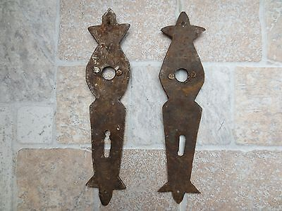 2 ANTIQUE19-20th C TOTALLY Hand Forged Wrough Iron CARVED DOOR LOCKS Old Vintage 11