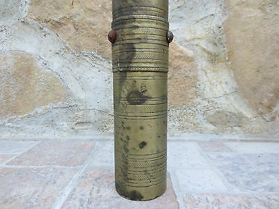 Primitive Antique Ottoman Brass-Carved TUGRA Marked Hand Coffee Grinder 19th #03 2