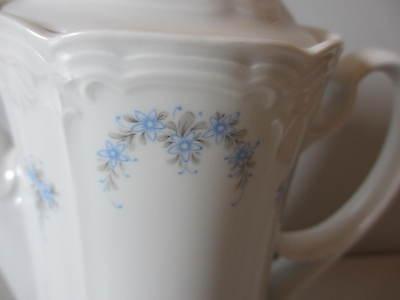 Kaffeekanne 1,2 Liter Blumenranke grau hellblau Seltmann Weiden JULIA
