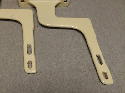 Pair Antique Cast Iron Pale Yellow Porcelain Sink Brackets Supports Vtg 553-16