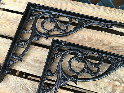 "Pair Black 10x8"" ANTIQUE HEAVY CAST IRON VICTORIAN SHELF WALL BRACKETS BR28bx2 3"