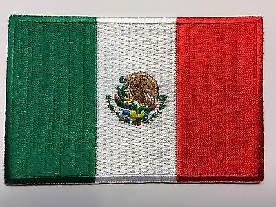 """AMERICAN FLAG & MEXICAN FLAG EMBROIDERED PATCH IRON-ON SEW-ON MEXICO  (3½ x 2¼"""") 4"""