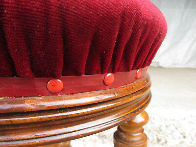 Victorian walnut piano stool, adjustable, upholstered, central column (531) 3