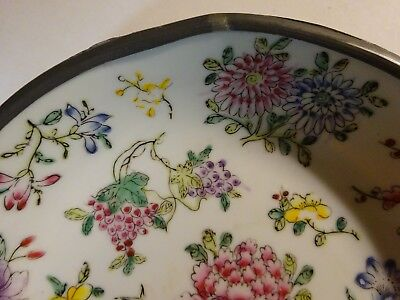 "Vintage YT Japanese Porcelain Wares Hong Kong Metal Cased Bowl Dish Flowers 8"" 5"