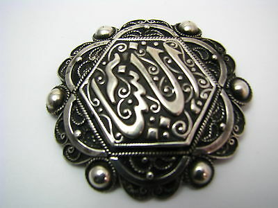 ANTIQUE ARABIC ISLAMIC SILVER BROOCH PIN FILIGREE North Africa Tunisia ca1900's. 2