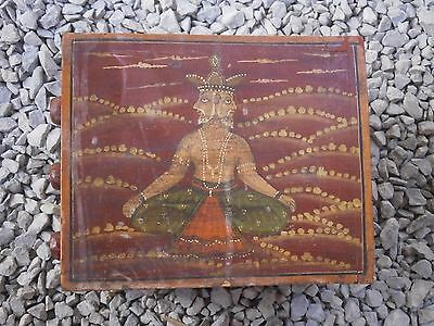 Antique Vintage Wooden Box Wiht Tree Drawers Beautiful Painting 4