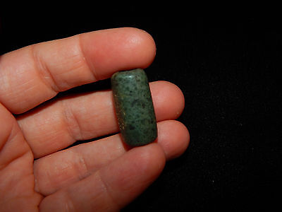 Pre-Columbian JadeTubular Bead,  Blue Green Jade,Central America 8