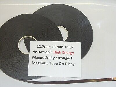 Magnetic Tape,Strip Self Adhesive 12.7mm x 2mm  Anisotropoic Strong High Energy 5