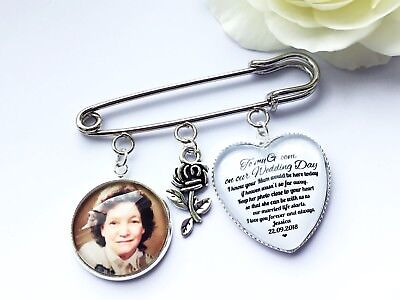Groom Buttonhole Photo Memory Charm Message From Bride Grooms Gift Wedding 6