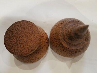 Vintage lidded pot with interesting wood grain 2