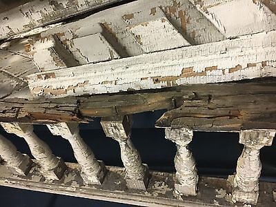 "c1880 victorian porch spandrel pediment turned spindles 8""h - 11' 9"" L x 10.75"" 10"