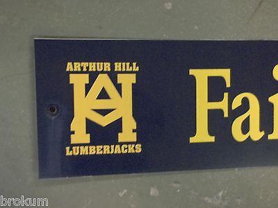 "Vintage ARTHUR HILL / FAIRFIELD St STREET SIGN 42"" X 9"" GOLD LETTERING ON BLUE"