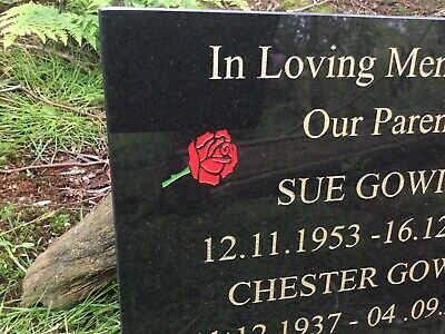 Memorial Grave Plaque Stone Engraved  Headstone Large  Black Granite 40x30cm 7