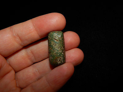 Pre-Columbian JadeTubular Bead,  Blue Green Jade,Central America 10