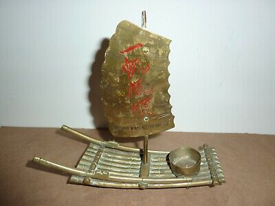 Vintage Chinese/Oriental 19Cm Long Brass Candle/Incense Burner Raft With Sail 3