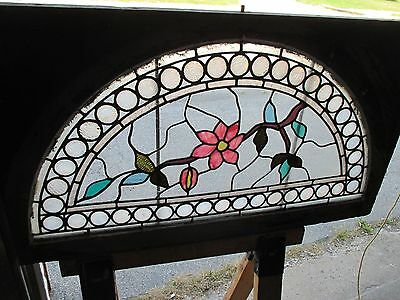 ~ GREAT ANTIQUE AMERICAN STAINED GLASS WINDOWS FLOWERS ~ 44 x 25 ~ SALVAGE 2