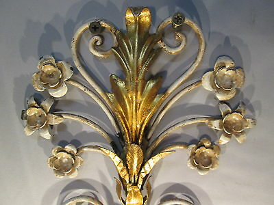 "Vintage Antique Pair Italian Tole Wheat Gold Gilt Wall Sconce Lights  22"" x 9"" 4"