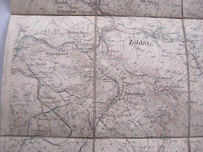 alte Landkarte Sachsen Section Zöblitz Nr.129 von 1912 auf Leinen Olbernhau