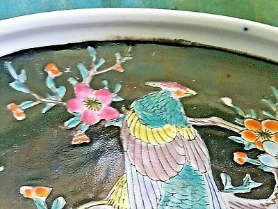 Antique Arita Imari Dish Bowl Signed Japan Enamel Porcelain Rare Flowers Birds 9