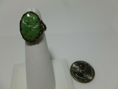 Chinese Export Sterling Silver Carved Jade Jadeite Flower Antique Signed Ring 2