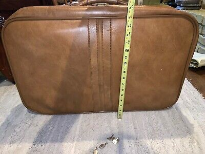 Vintage SCOVILL SUITCASE Tan Faux Leather (3) Piece Luggage 5