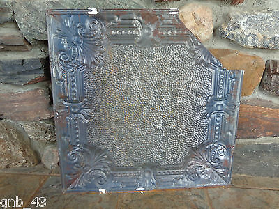 "1900's Antique Partial Tin Ceiling Tile 24"" x 24"" Painted Antique White #CT4 6"