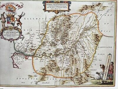 Historic Antique vintage Old Map: Nithsdale, River Nith,  Scotland 1600s REPRINT 2