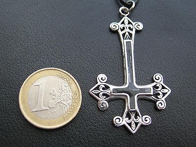 Umgedrehtes Kreuz Pentagramm Anhänger Gothic Kette Petruskreuz