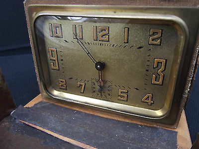 Art Deco Leather Travel Cased Brass Alarm Clock Duverdrey Bayard