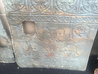 "GORGEOUS antique VICTORIAN tin ceiling pressed edge pattern 5- 24"" sq pcs AS IS 11"