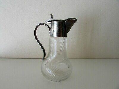 Wmf Silver Plate Swirled Glass Pitcher Jug Antique Miniature 4'' 2