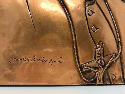 Vintage Católica Papa John Paul 2 Hecho a Mano Cobre Madera Tallado Pared Art 5