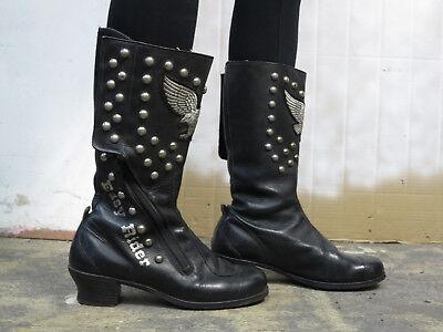 70er Jahre Boots Schwarz Slip in Stiefel
