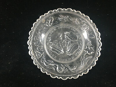 Clear Glass Antique Pressed Glass Small Plate Wedding Day Motto Sandwich 3 Weeks 2