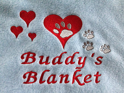 Personalised Embroidered Cat/ Kitten Fleece Pet Blanket Hearts & Paws gift 3