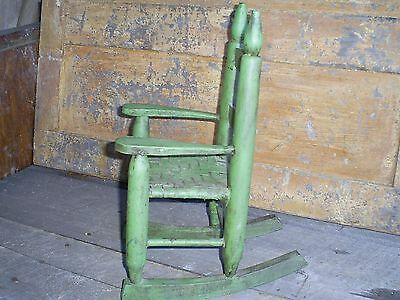 Antique Ladder Back Child's Toy Woven Splint Seat Wood Rocking Chair Old Paint 8
