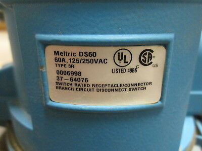 Meltric DS60 Receptacle 37-64076 60A 125/250V Type 3R Used 7
