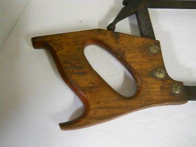 "Vintage Meat Bone Saw Butchers Cutting Tool Wood Handle 18"" Blade Man Cave Decor 3"