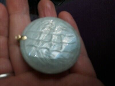 chinese jade panda pendant with bamboo engraved detail to back 3